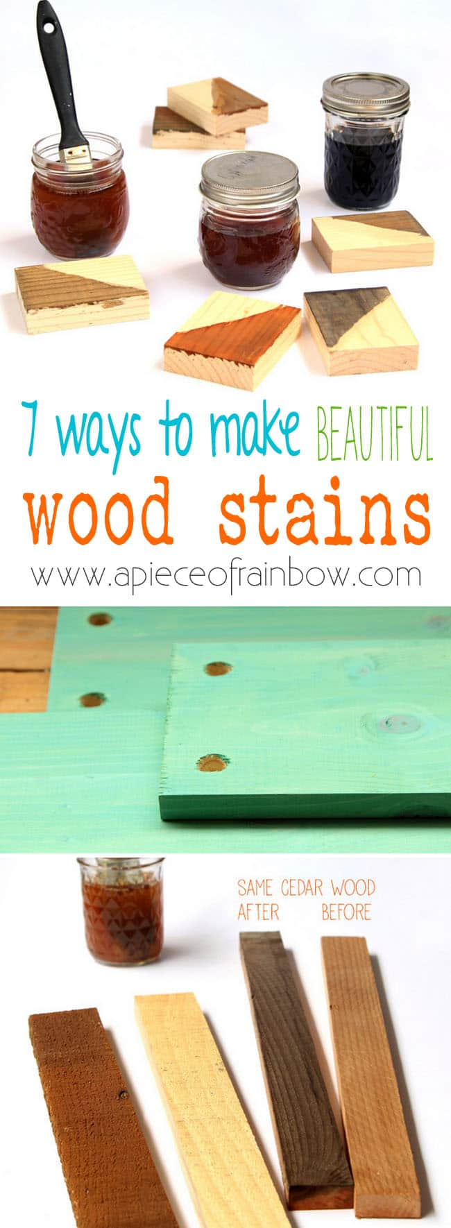 7 recipes to make wood stains in any color using natural household materials! These quick and easy wood stains are super effective, long lasting, low cost, and non-toxic!