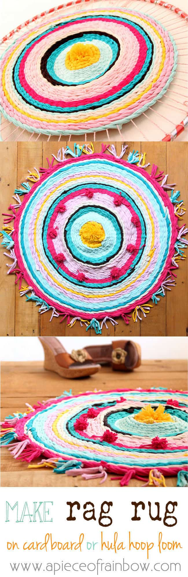 Really fun and detailed tutorial on how to make rag rug from old t-shirts, and how to weave beautiful rugs on a cardboard loom or hula hoop loom!