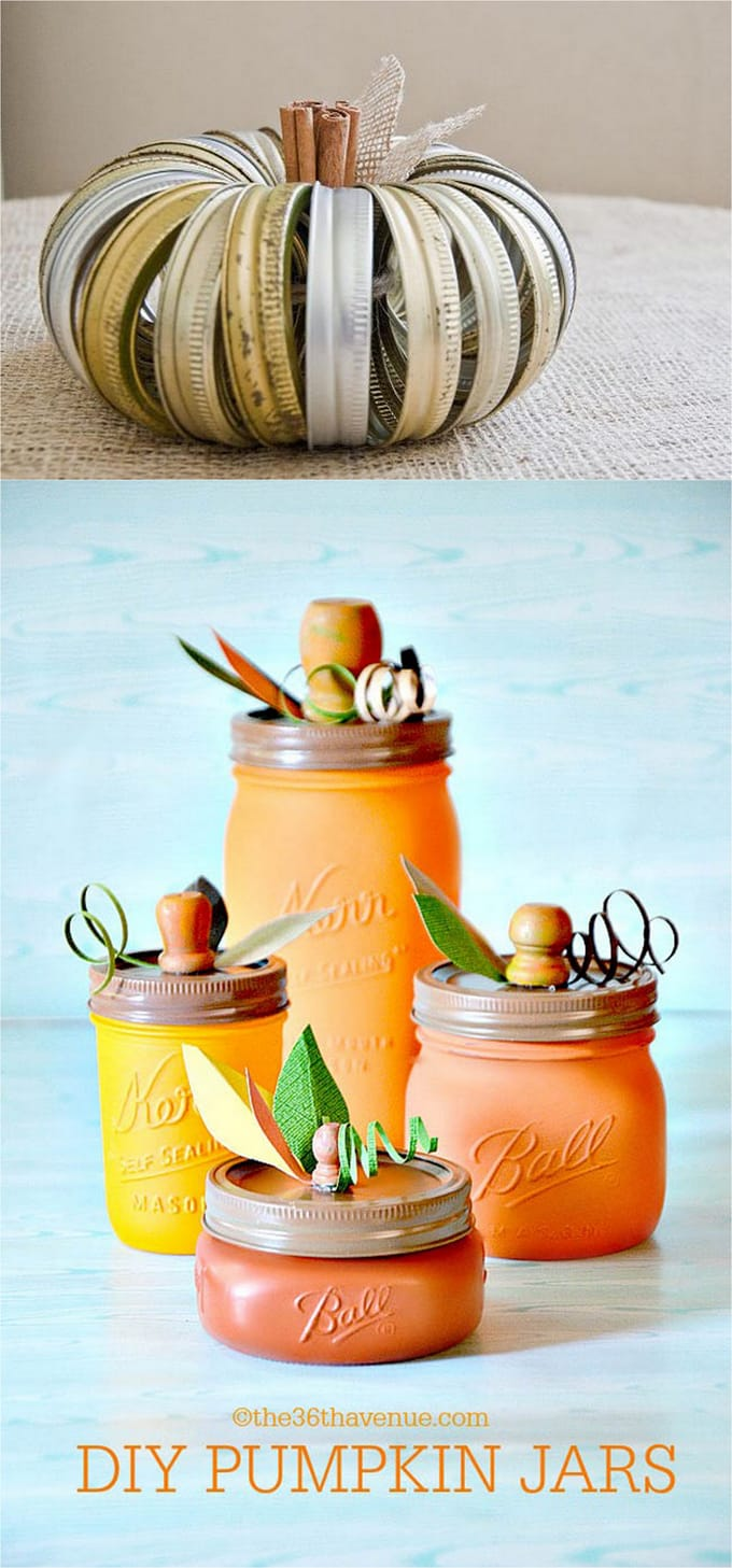 1 2 canning jar lids and mason jars pumpkin decorations - Pumpkin Decorations