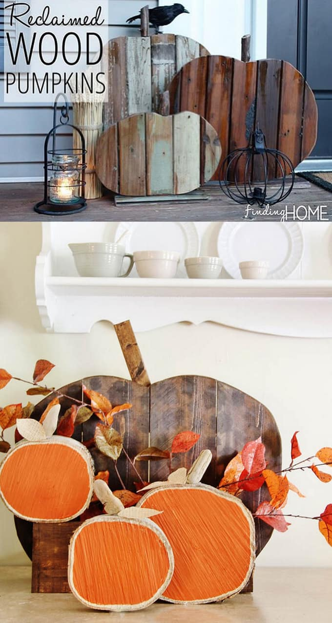 20+ best DIY pumpkin decorations for Thanksgiving, Halloween & fall. How to up-cycle cans, jars, paper, fabric, or wood to make gorgeous pumpkins for free! - A Piece of Rainbow #fall #falldecor #autumn #pumpkin #pumpkindecorations #papercrafts #crafts #crafting #craftsforkids #diy #homedecor #homedecorideas #diyhomedecor#halloweendecorations #halloween #thanksgiving #farmhouse #farmhousestyle #farmhousedecor #kidscraft