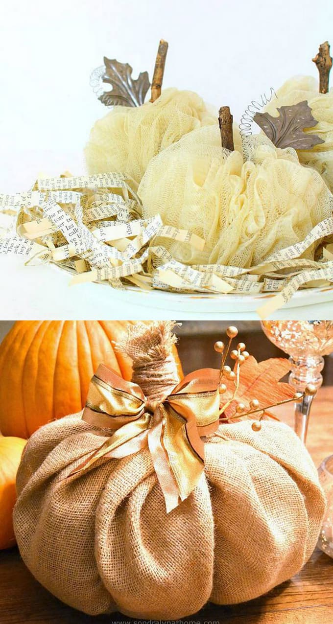 these diy pumpkins are perfect for farmhouse style decorations and thanksgiving centerpieces tutorial here and here - Pumpkin Decorations