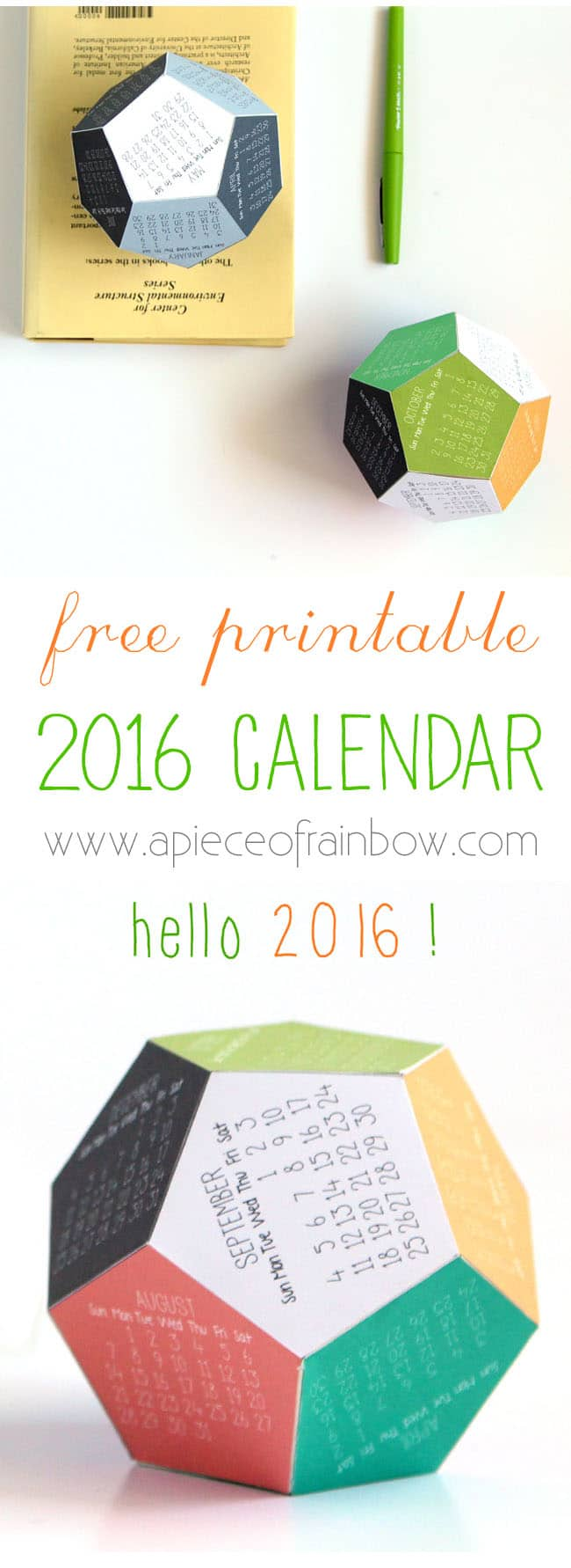 Make a 3D 2016 Printable Calendar - A Piece Of Rainbow