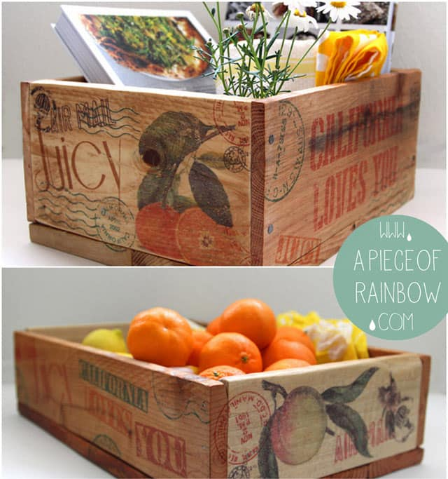 Make vintage orchard farm inspired pallet wood crate for almost free. Tutorial on transfer images to wood, plus recipe for home made furniture wax. - A Piece Of Rainbow