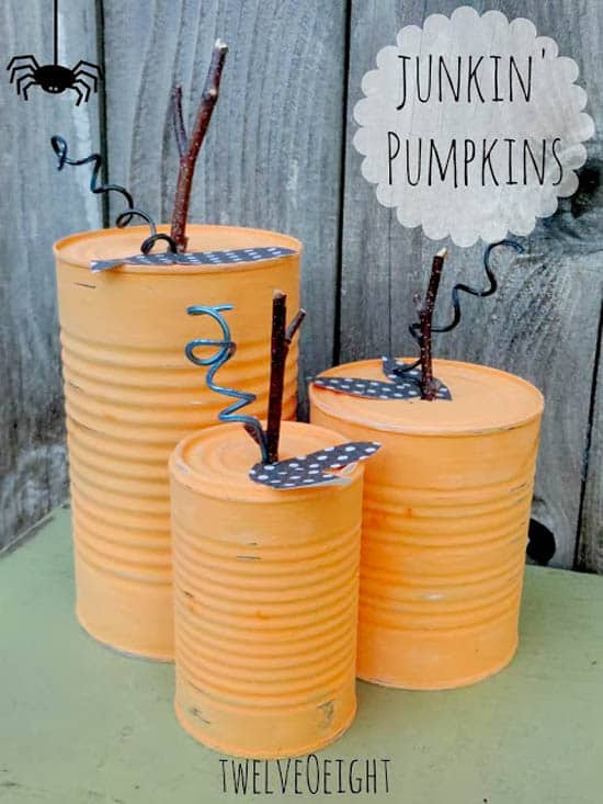 20+ creative re-purposed pumpkin ideas to DIY for Thanksgiving and Halloween! Make gorgeous pumpkins with household stuff and, without buying a pumpkin!