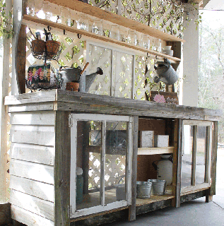 Free building plans to create a reclaimed window and reclaimed wood potting bench! So charming and rustic!