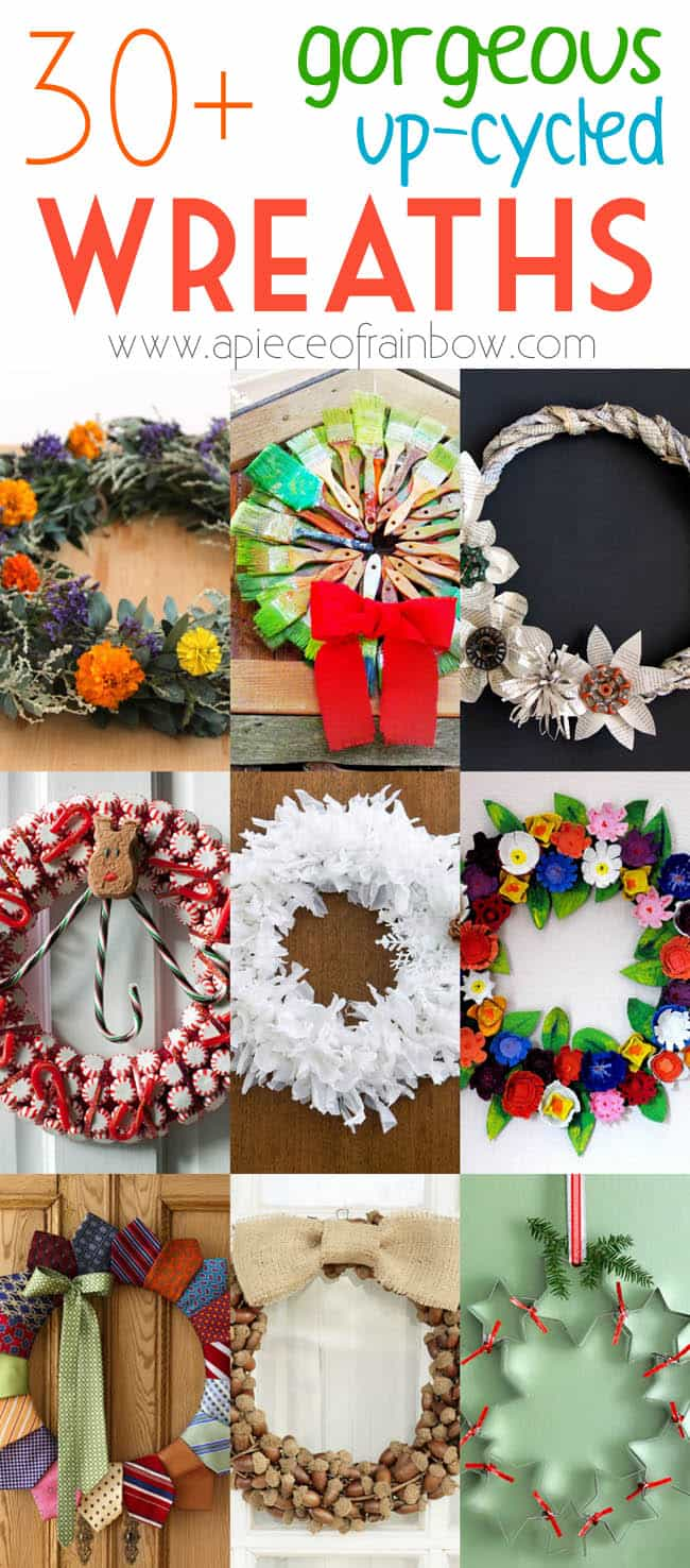 30 upcycled christmas wreaths a piece of rainbow