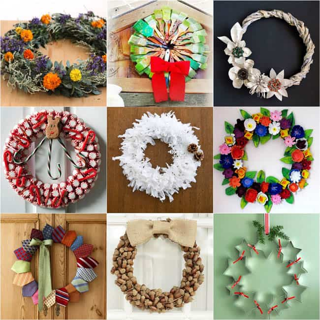 30+ super creative, gorgeous, up-cycled DIY Christmas wreaths with great tutorials! Acorns, tin cans, old books, egg cartons can all become great wreaths!