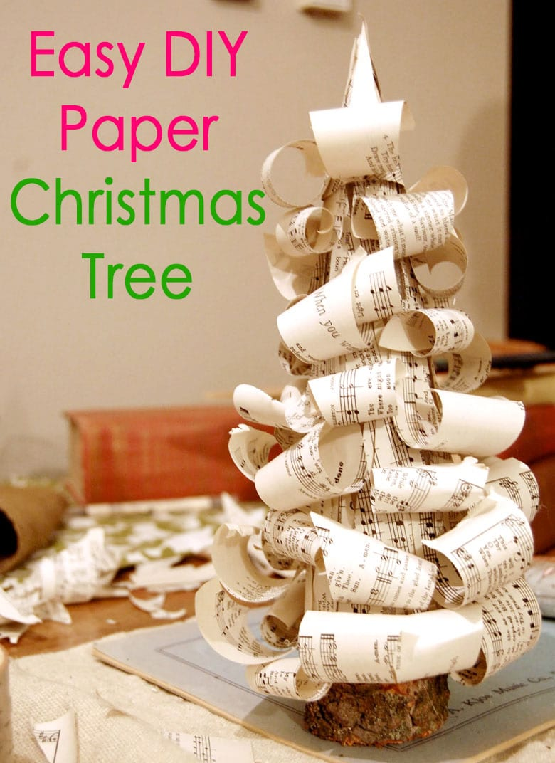 DIY paper Christmas tree with book pages