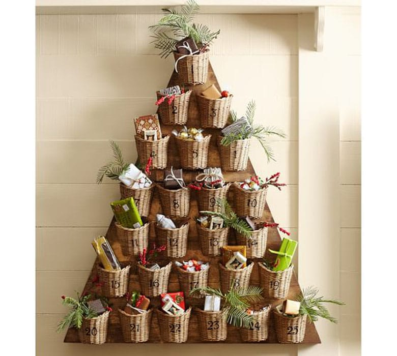 farmhouse advent calendar wood Christmas tree