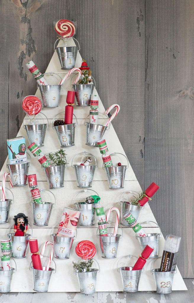 advent calendar Christmas tree with small hanging buckets