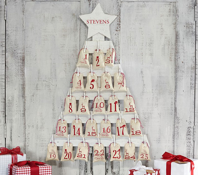 red and white advent calendar pallet Christmas tree