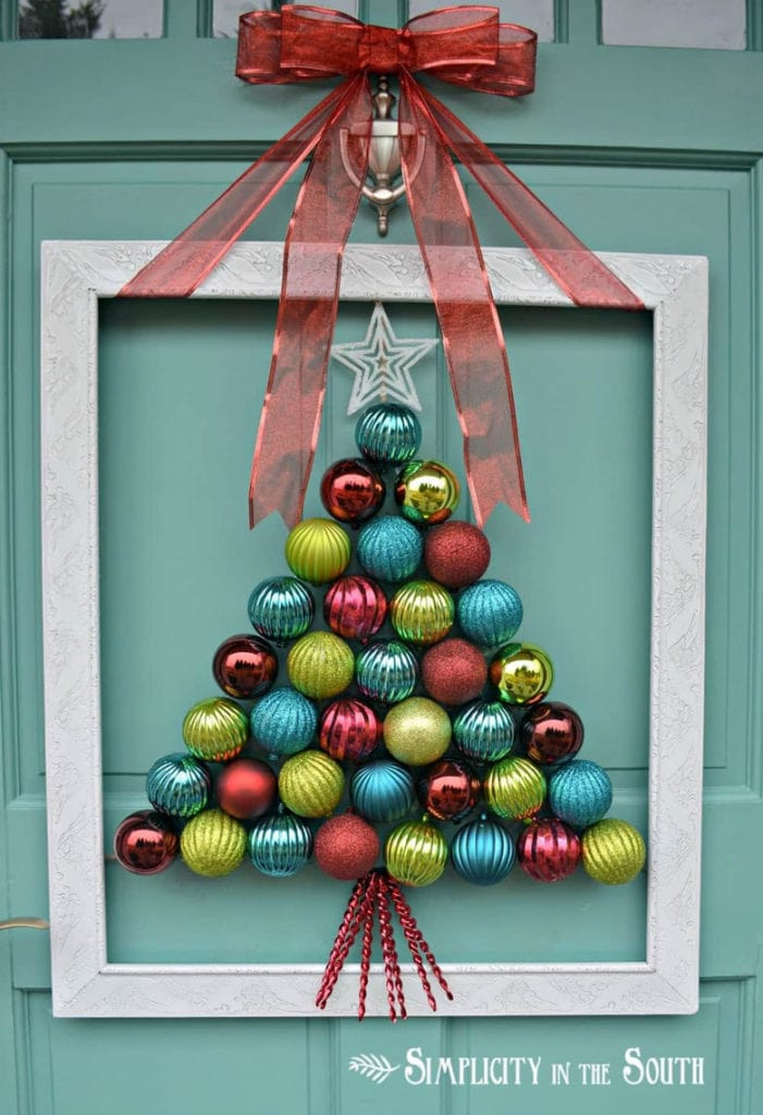 make a unique ornament Christmas tree in a frame