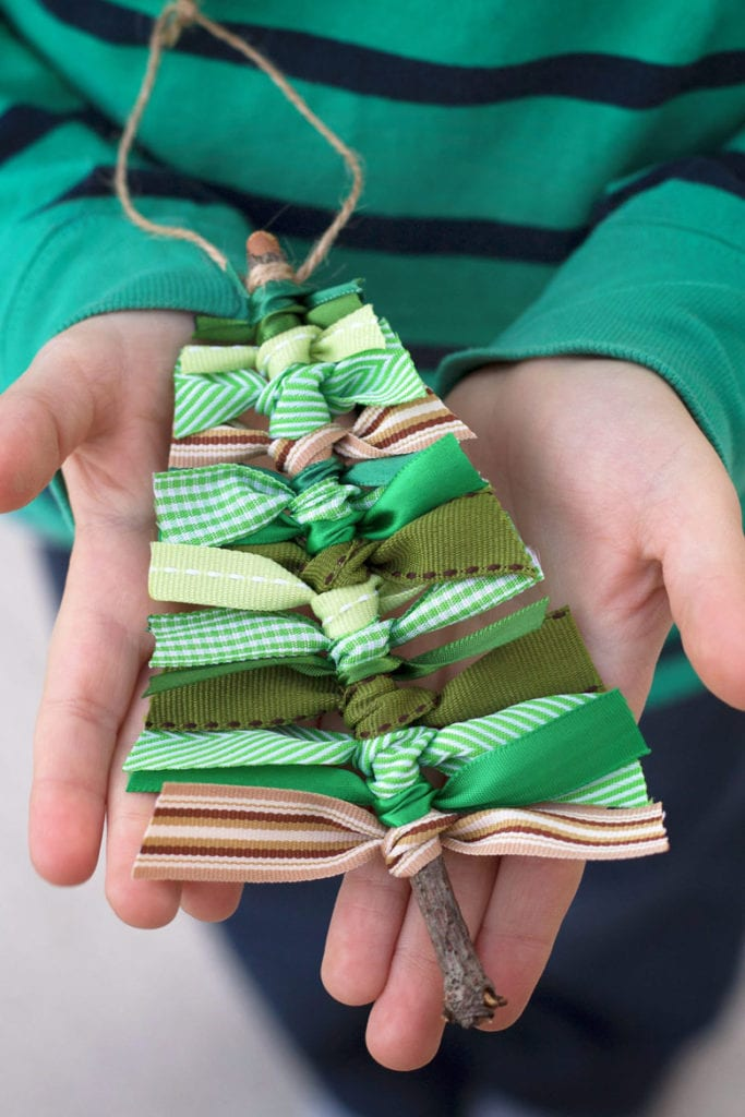 DIY Christmas Trees with Ribbons