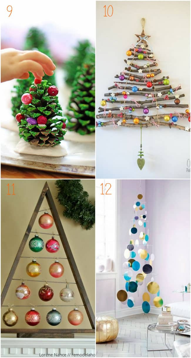 38 inspiring alternative Christmas Tree ideas to DIY this holiday! From candy canes, pine cones, to paper and pallets, these great tutorials are must-sees! - A Piece Of Rainbow Blog