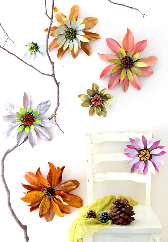 How to make flowers from nature walk findings such as pine cones and leaves. These giant blossoms make such dramatic, beautiful and free home decorations! via A Piece Of Rainbow
