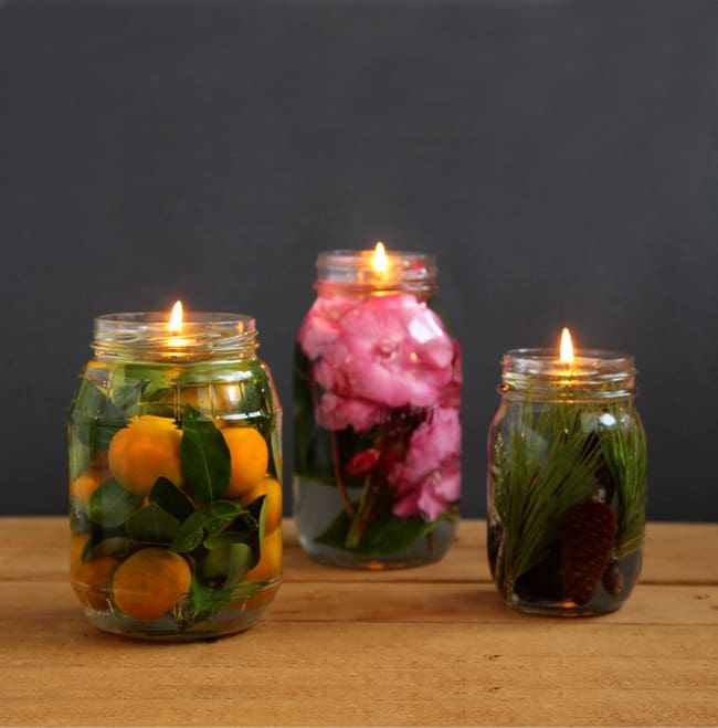 farmhouse style mason jar oil lamp and candles