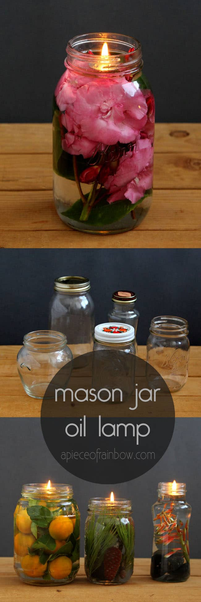 water candles with mason jar, oil candle wicks, and natural elements