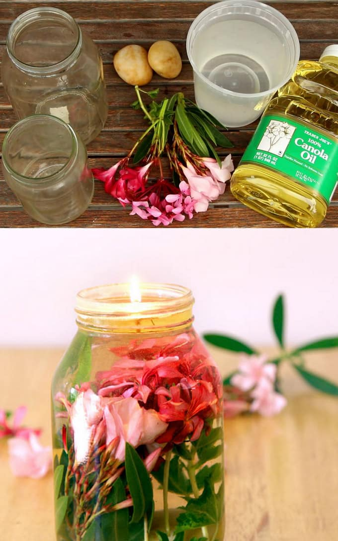 Make gorgeous oil lamp using flowers,  these oil candles are great for wedding decor