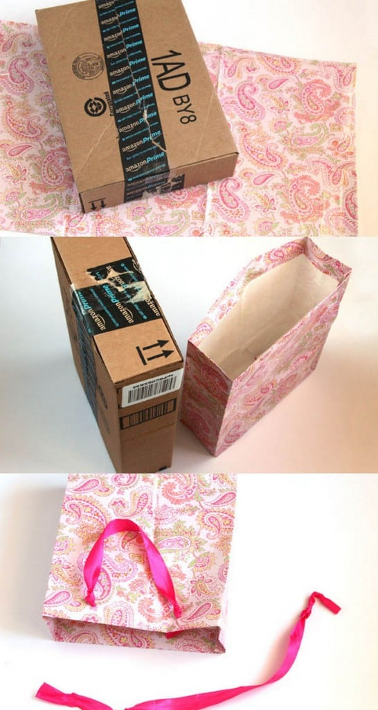 The FASTEST, no-brainer way to make gift bags of all sizes, from gift wrap or any paper! This cardboard box hack is so useful and so easy!