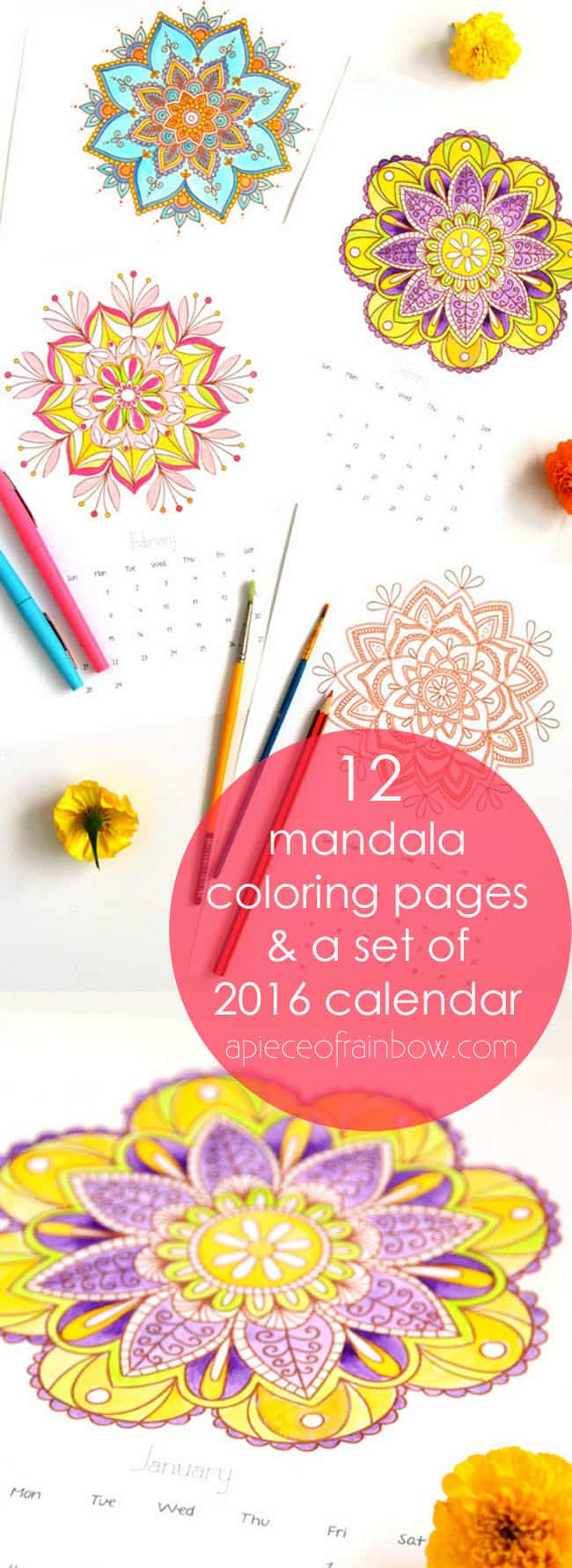mandala coloring pages 2016 calendar a piece of rainbow
