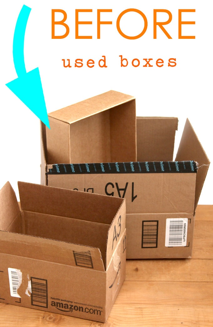make storage boxes using upcycled cardboard boxes
