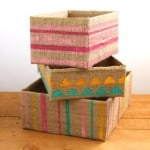 Make beautiful storage box from up-cycled cardboard box and burlap coffee bean bags! Super easy tutorials on 3 variations. A Piece Of Rainbow blog