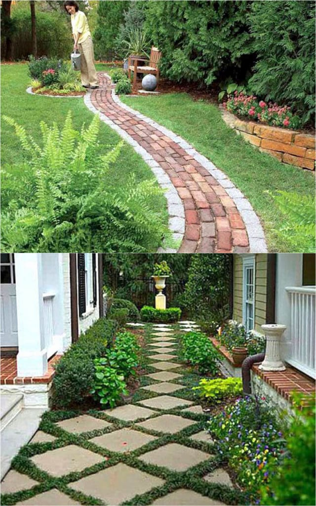 25 beautiful garden path ideas & pro landscape design tips on easy DIY backyard walkways with gravel, brick, stepping stones, wood, pavers, or even mulch!
