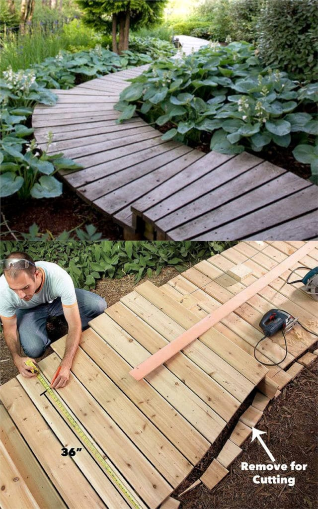 DIY wood deck and steps in garden