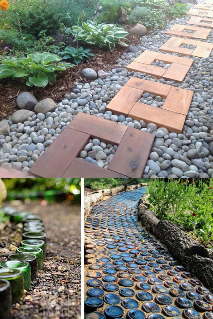 recycled bottle garden path and edging