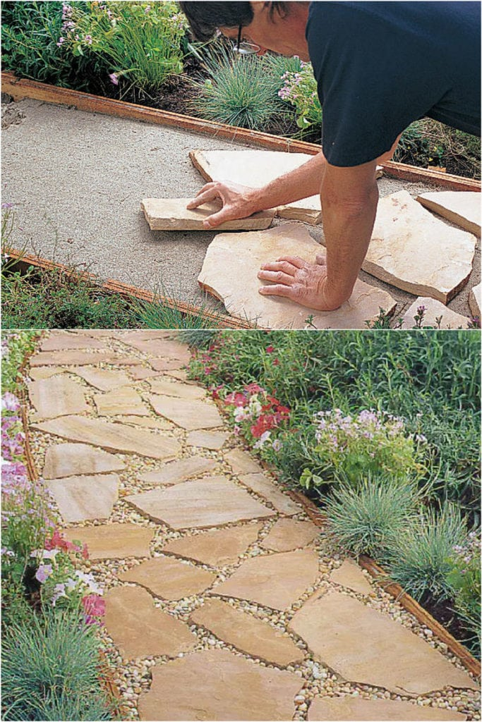 Easy DIY Flagstone Garden Paths Set in Sand and gravel