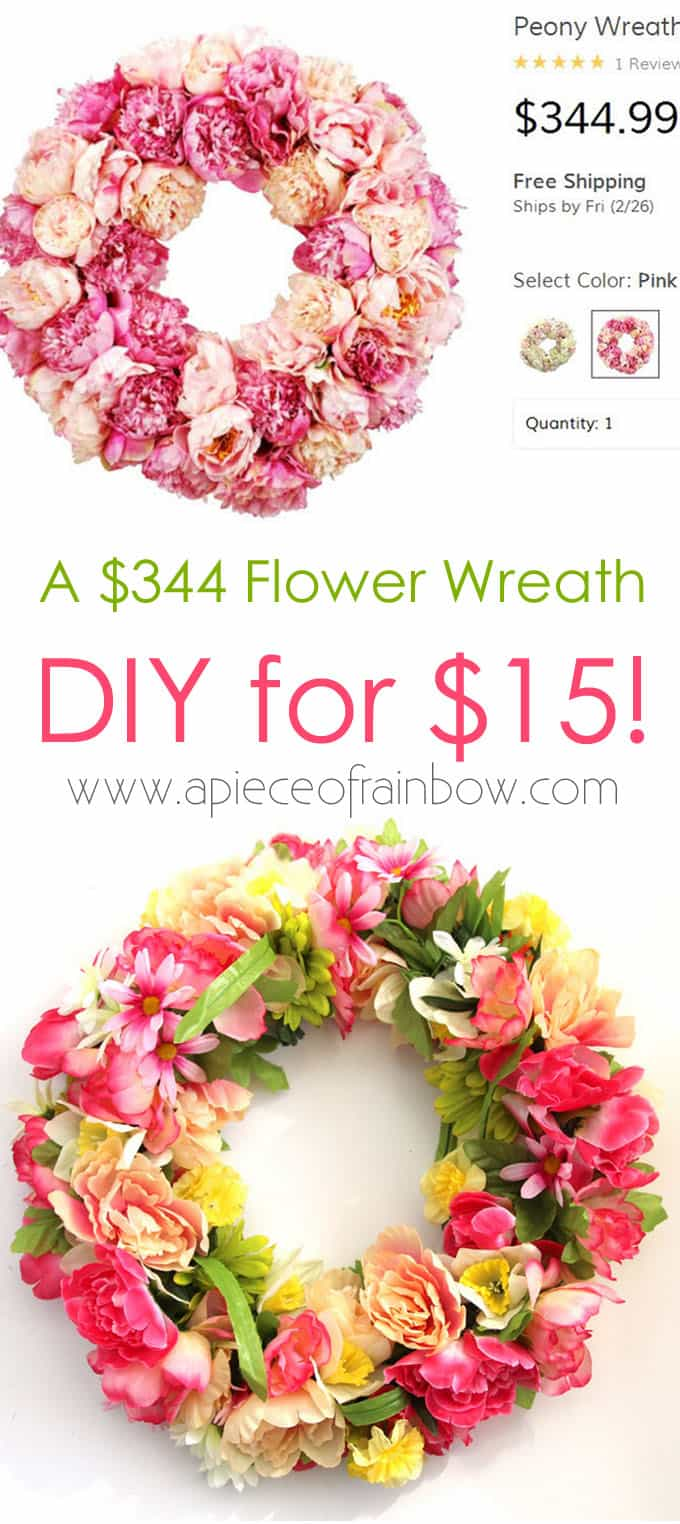 750ac635c222dd Make A $344 Flower Wreath For $15 - A Piece Of Rainbow