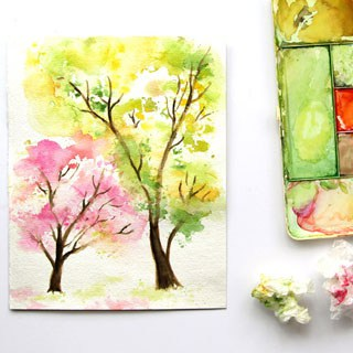 Spring Trees Watercolor Painting with… Crumbled Paper!