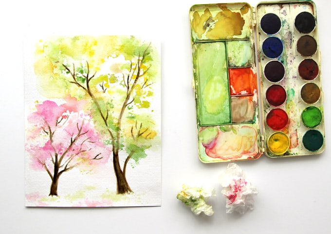 spring-tree-watercolor-painting-apieceofrainbow (3)