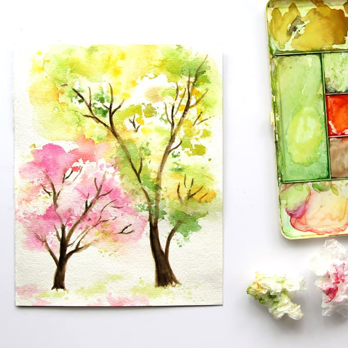 Learn watercolor painting fall tree a piece of rainbow for Simple watercolor paintings for kids