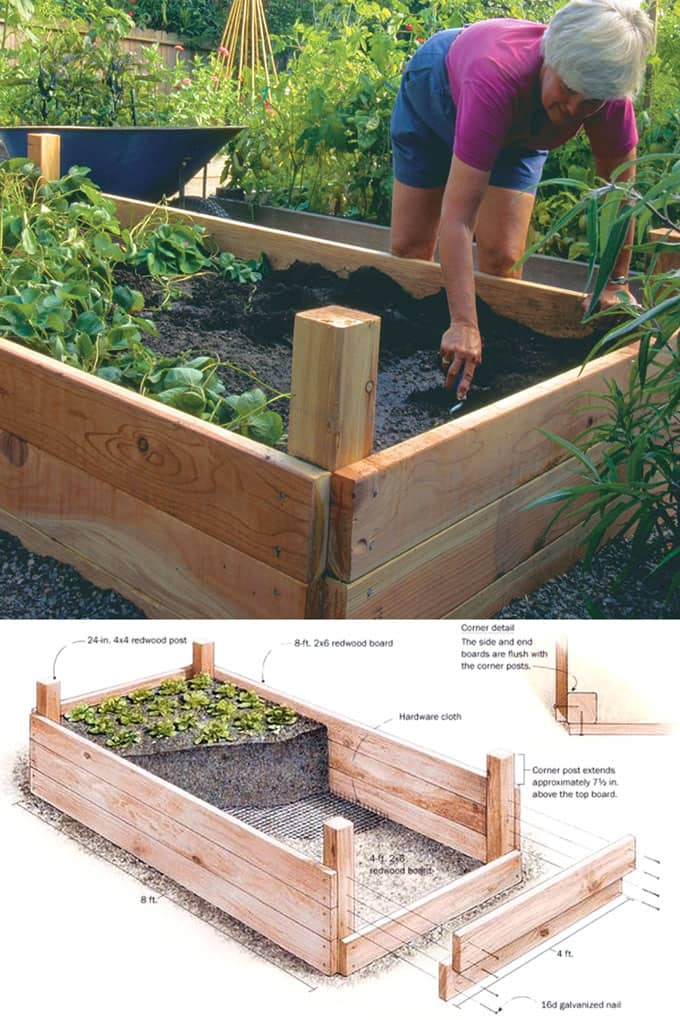 Simple wood raised bed with 4x4 posts : free design plans