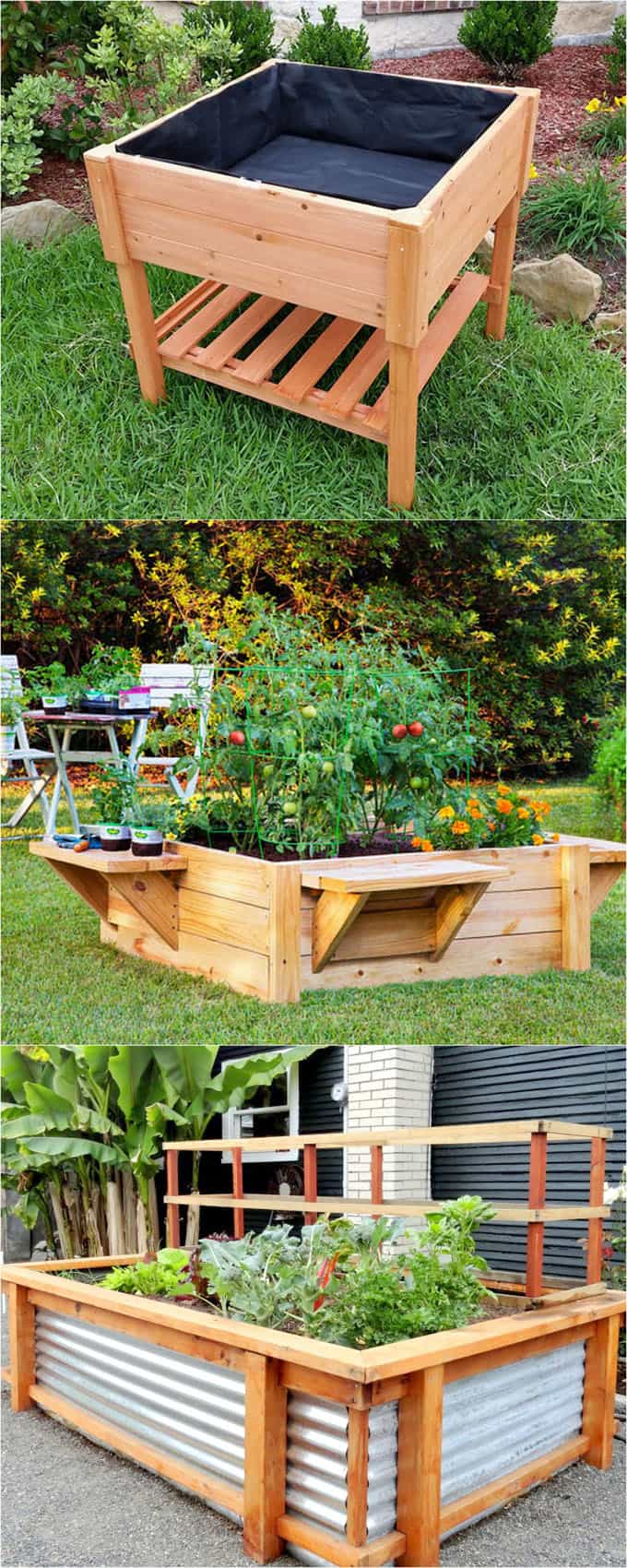 28 Best DIY raised bed gardens, easy to build using inexpensive simple materials. Great tutorials on how to build productive raised beds to grow vegetables and flowers. Plus many ideas on heights and design variations! - A Piece of Rainbow #backyard #gardens #gardening #gardeningtips #urbangardening #gardendesign #gardenideas #containergardening #DIY #homestead #homesteading #gardeningtips #upcycle #upcycling #woodworkingprojects #woodworkingplans