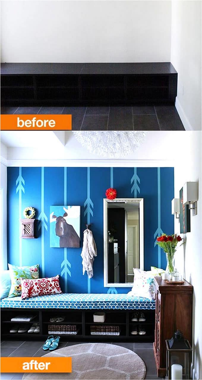entryway-before-after with blue wall