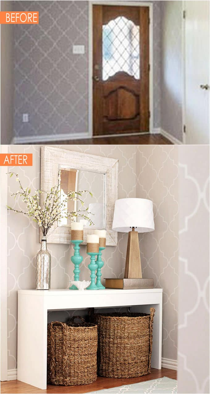 beautiful entryway-before-after with console table