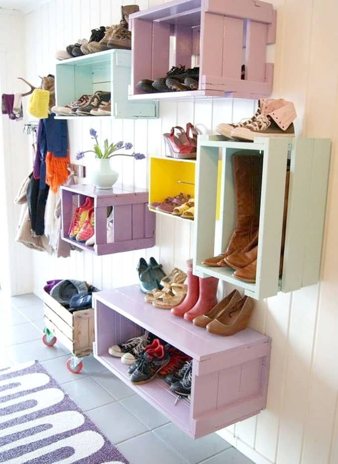 crates as entryway storage