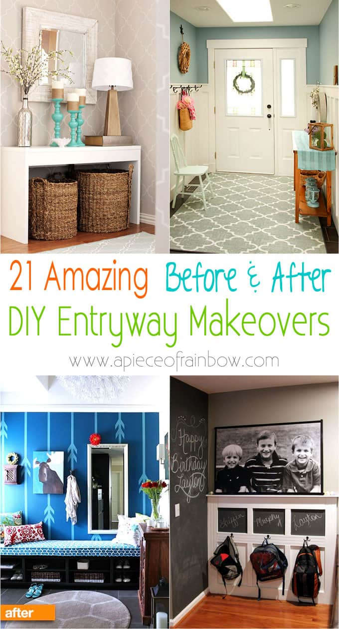 21 amazing DIY entryway ideas & beautiful makeovers! Many tips & tricks such as best entryway furniture, small entryway storage, easy bench seats, & more!