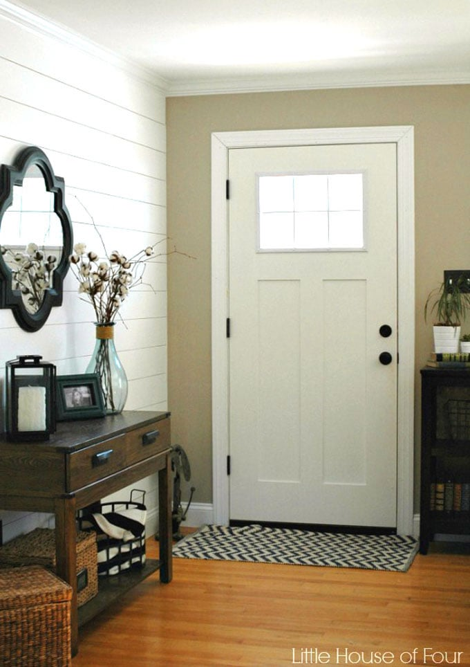 entryway after with shiplap wall