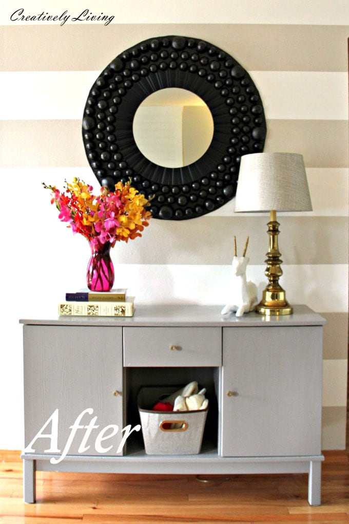 new entryway grey wall and console table