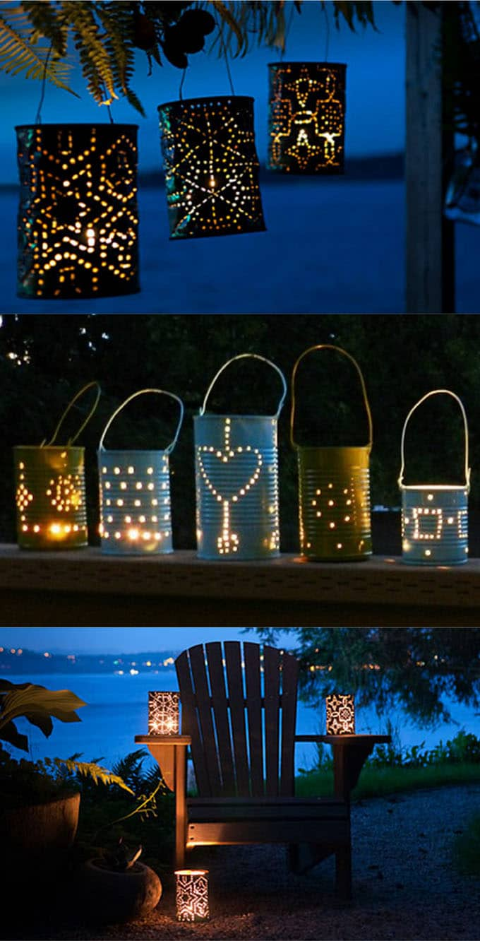 recycled cans outdoor lighting