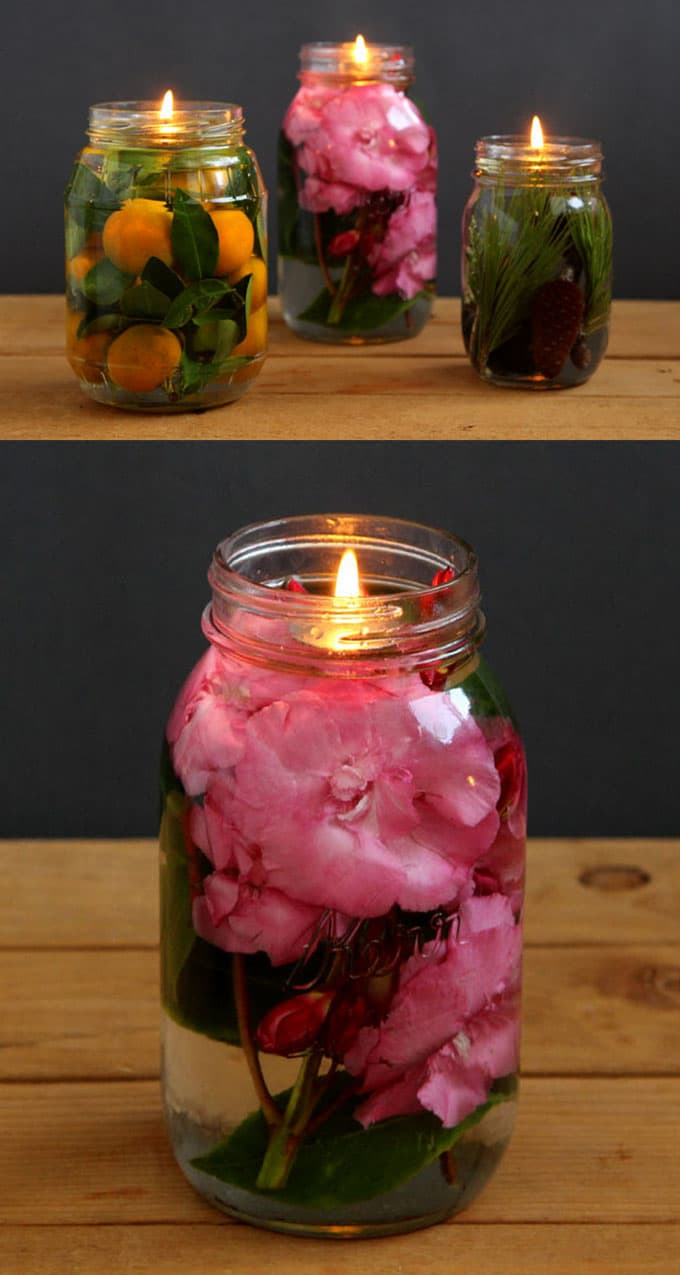 diy mason jar oil candle lights
