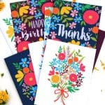 A set of gorgeous floral printable greeting cards - free templates to download and make your own birthday cards, thank you cards and blank greeting cards! - A Piece of Rainbow