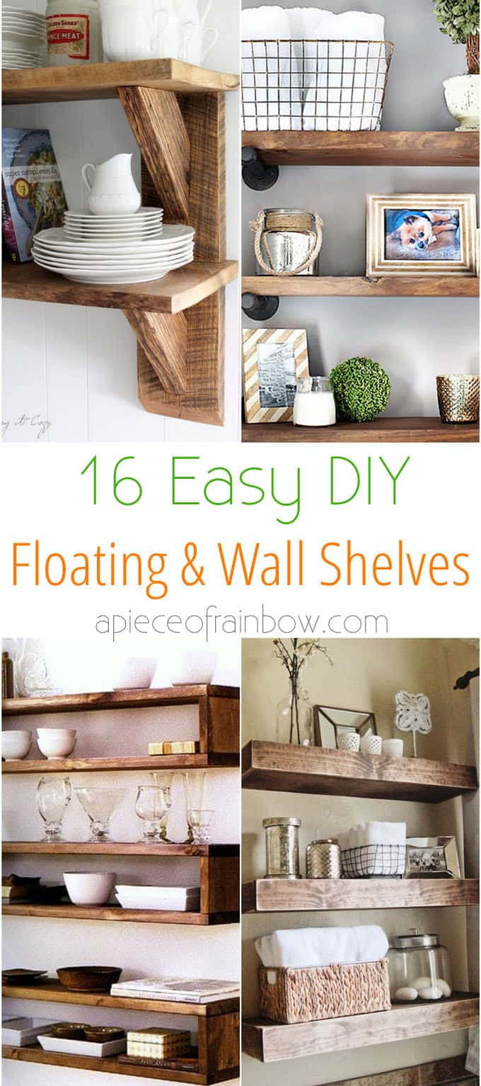 16 easy and stylish diy floating shelves wall shelves for Easy diy shelves