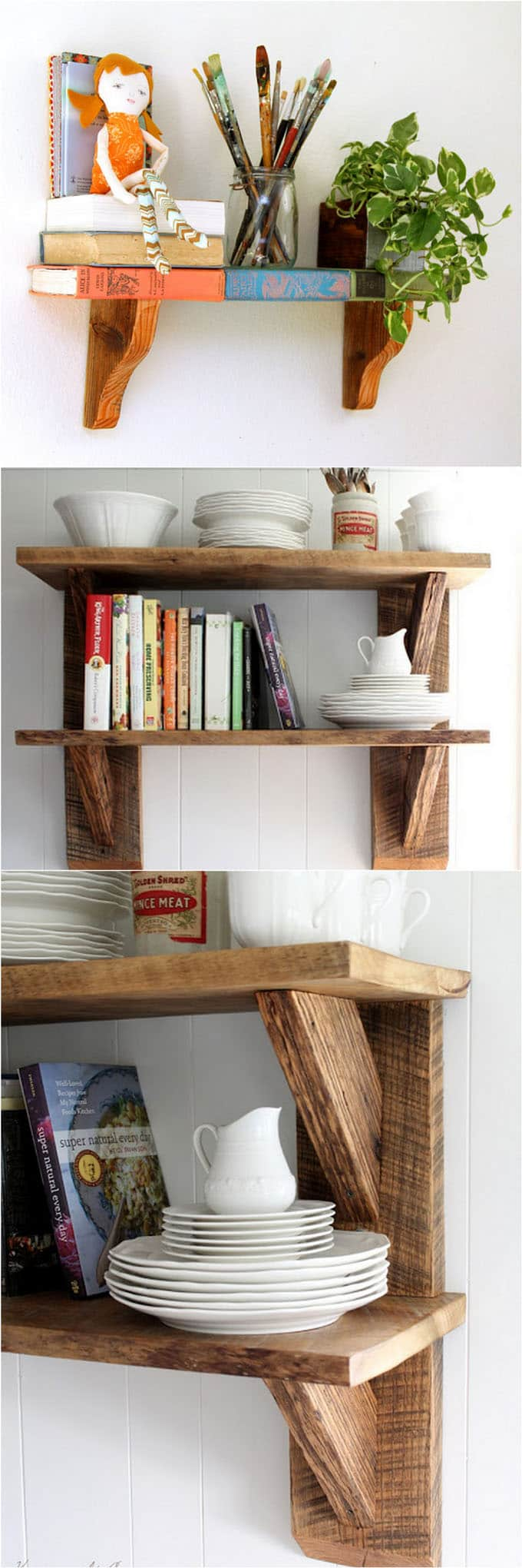 easy tutorials on building beautiful floating shelves and wall shelves ...
