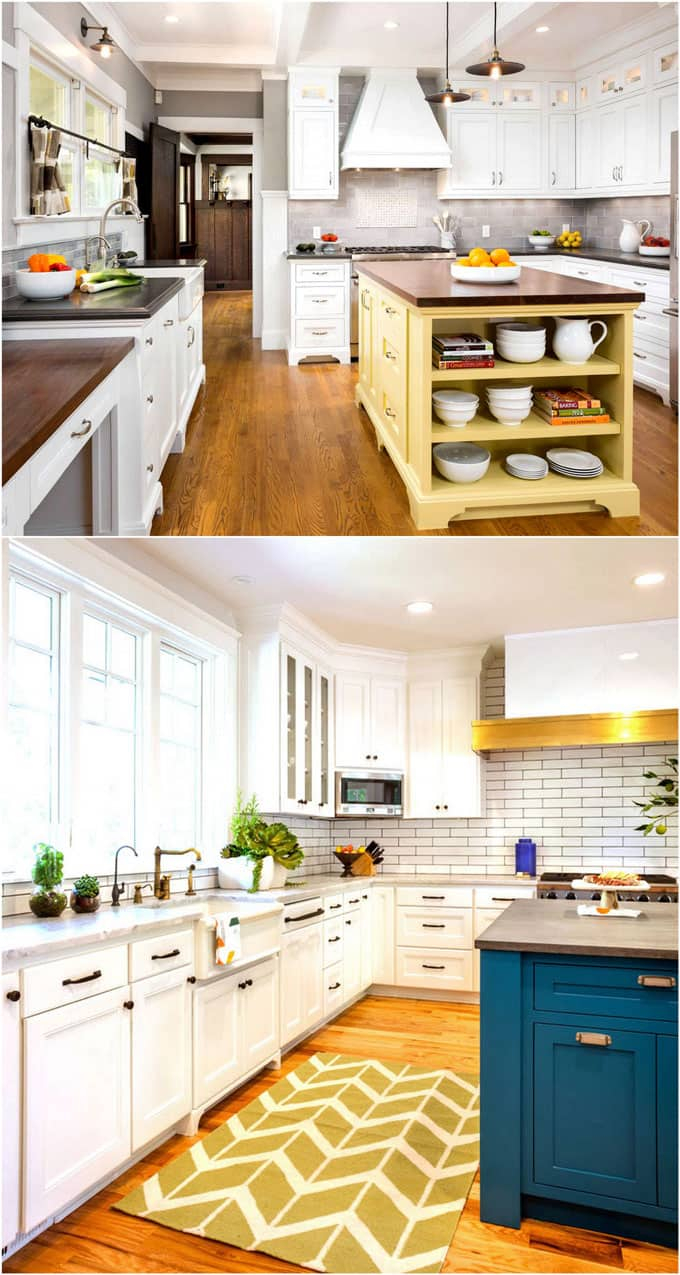white kitchen with colorful kitchen island paint colors