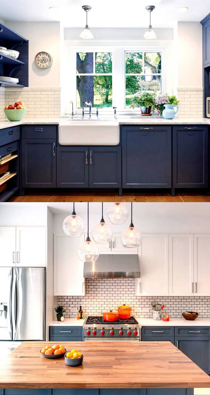 25 gorgeous paint colors for kitchen cabinets and beyond for Dark blue kitchen paint