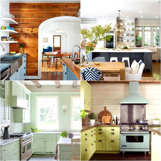 Transform your kitchen easily with 25 beautiful kitchen cabinet colors and favorite designer kitchen paint color combos from farmhouse to modern glam! Paint color names for each kitchen with great designer tips! - A Piece of Rainbow